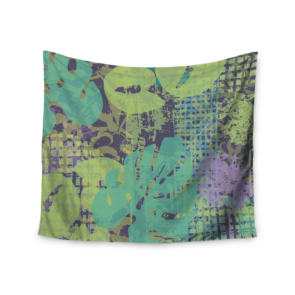 "Chickaprint ""Verdure Collage"" Green Teal Wall Tapestry - KESS InHouse  - 1"