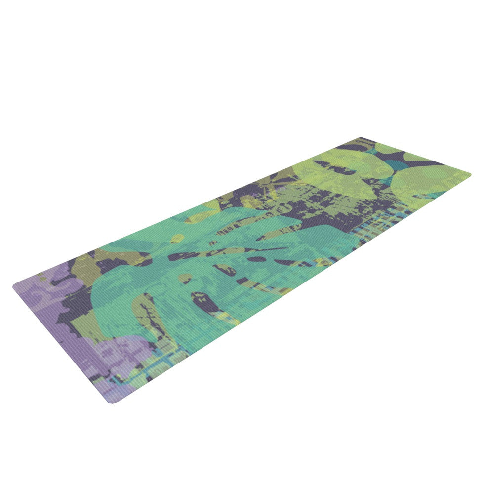 "Chickaprint ""Verdure Collage"" Green Teal Yoga Mat - KESS InHouse  - 1"