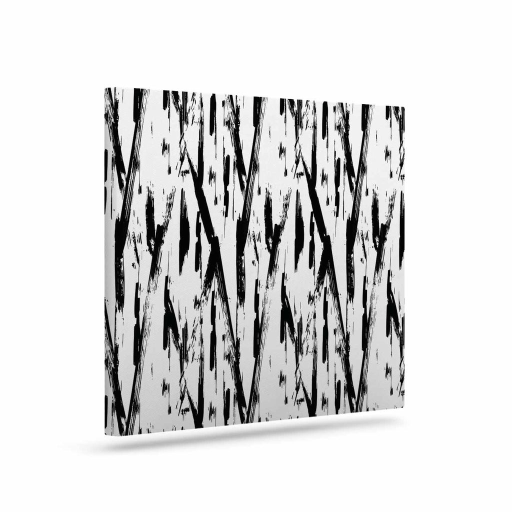 "Hitidesign ""Black And White Brush Stroke"" Black White Vector Canvas Art"