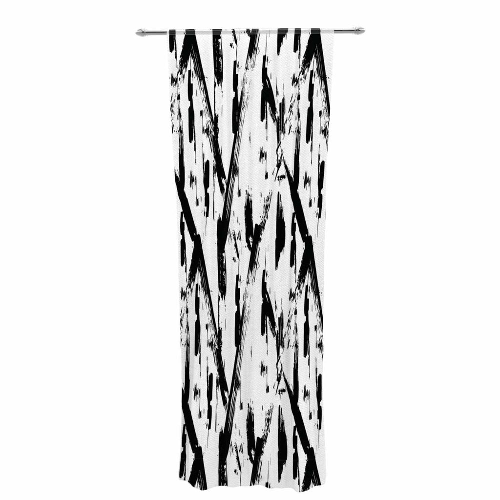 "Hitidesign ""Black And White Brush Stroke"" Black White Vector Decorative Sheer Curtain"