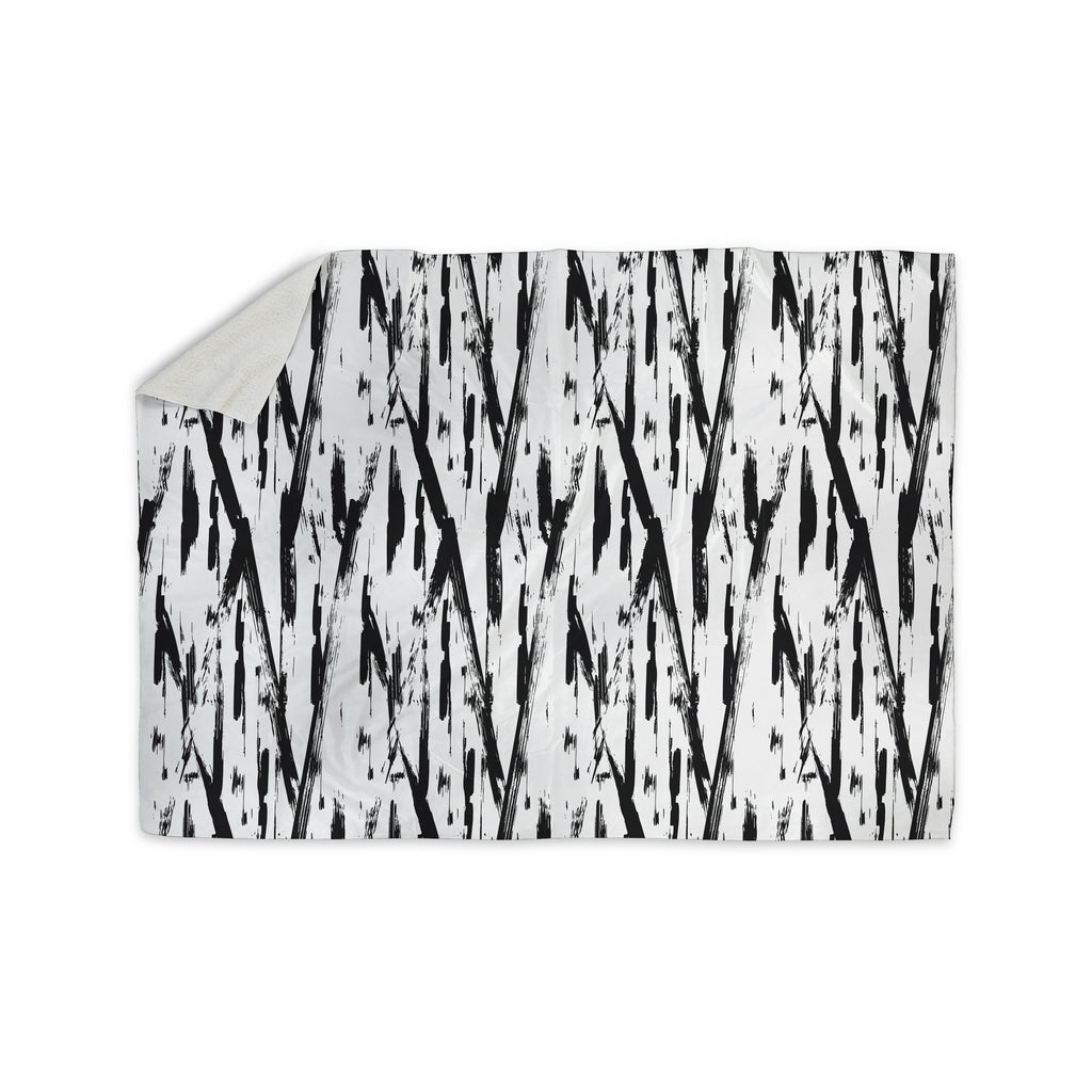 "Hitidesign ""Black And White Brush Stroke"" Black White Vector Sherpa Blanket"