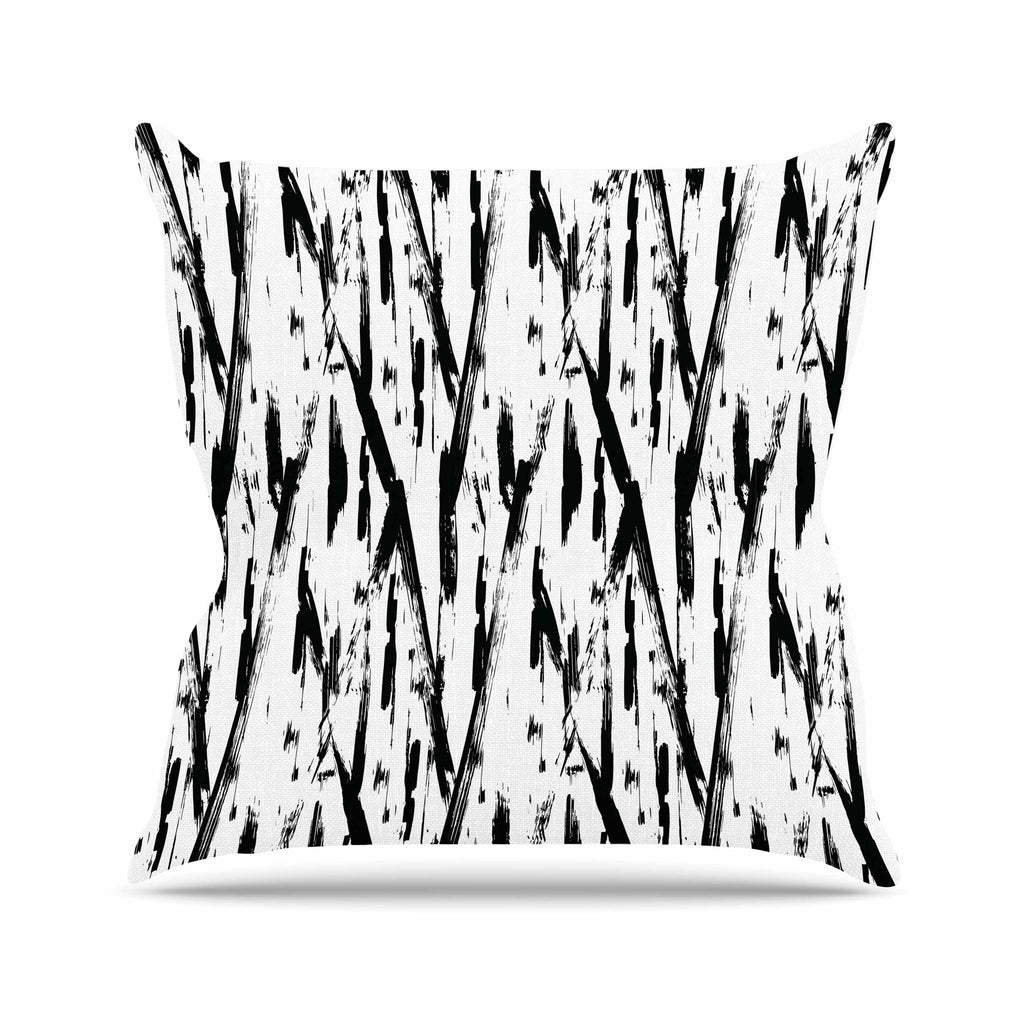 "Hitidesign ""Black And White Brush Stroke"" Black White Vector Throw Pillow"