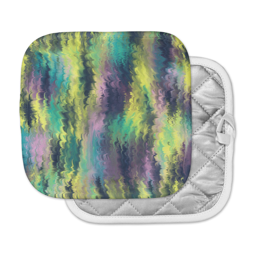"Hitidesign ""Marbling Color"" Teal Purple Digital Pot Holder"