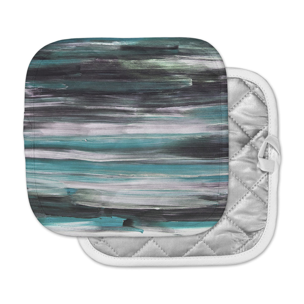 "Hitidesign ""Mixed Brush Strokes"" Teal Black Painting Pot Holder"