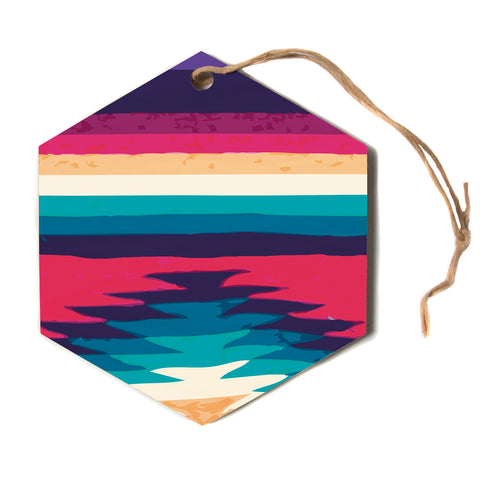 "Nika Martinez ""Surf""  Hexagon Holiday Ornament"