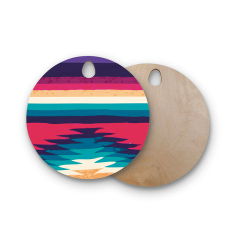 "Nika Martinez ""Surf"" Round Wooden Cutting Board"