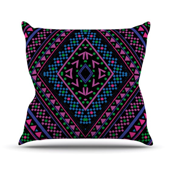 "Nika Martinez ""Neon Pattern"" Outdoor Throw Pillow - KESS InHouse  - 1"