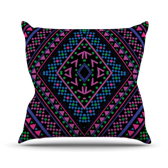 "Nika Martinez ""Neon Pattern"" Throw Pillow - KESS InHouse  - 1"