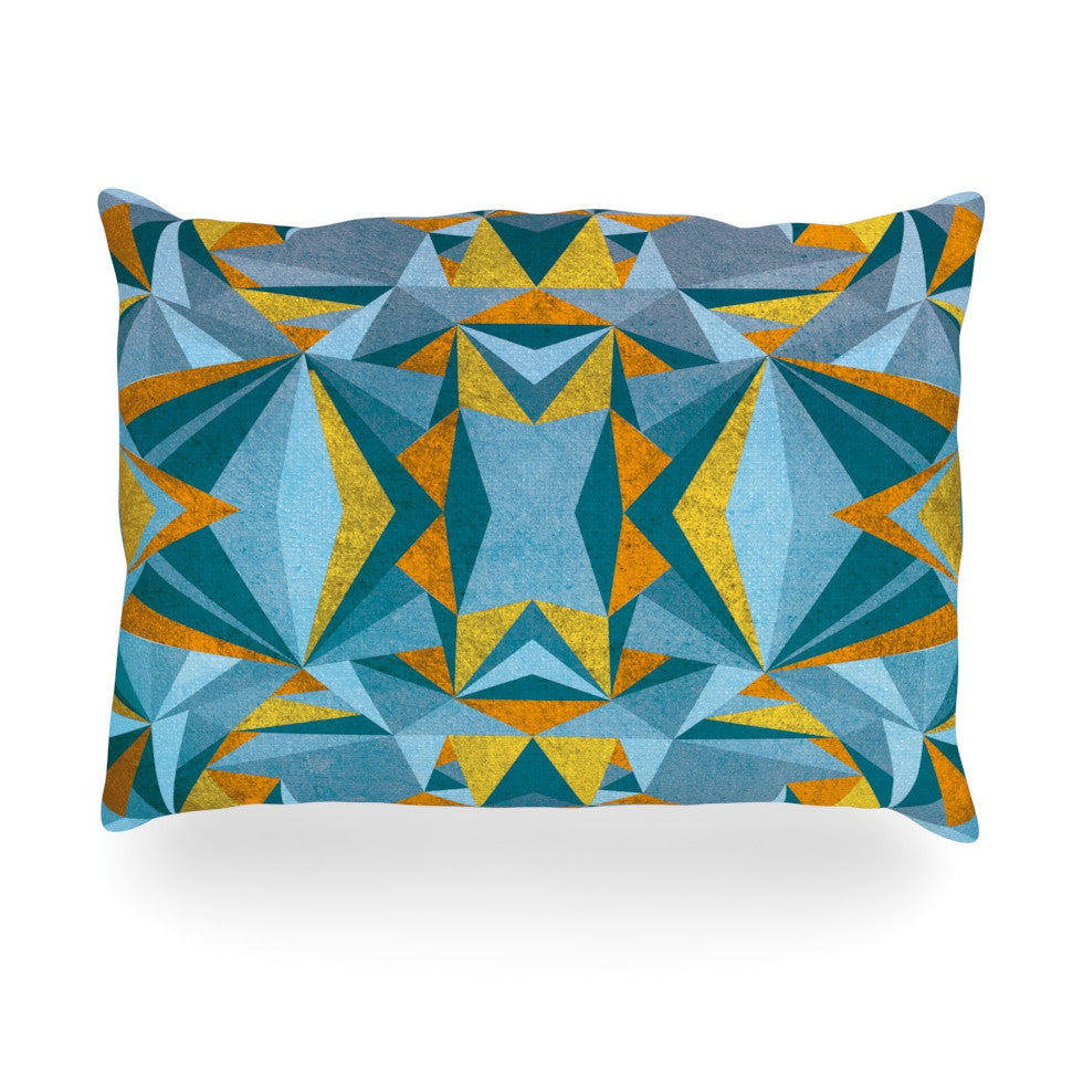 "Nika Martinez ""Abstraction Blue & Gold"" Oblong Pillow - KESS InHouse"