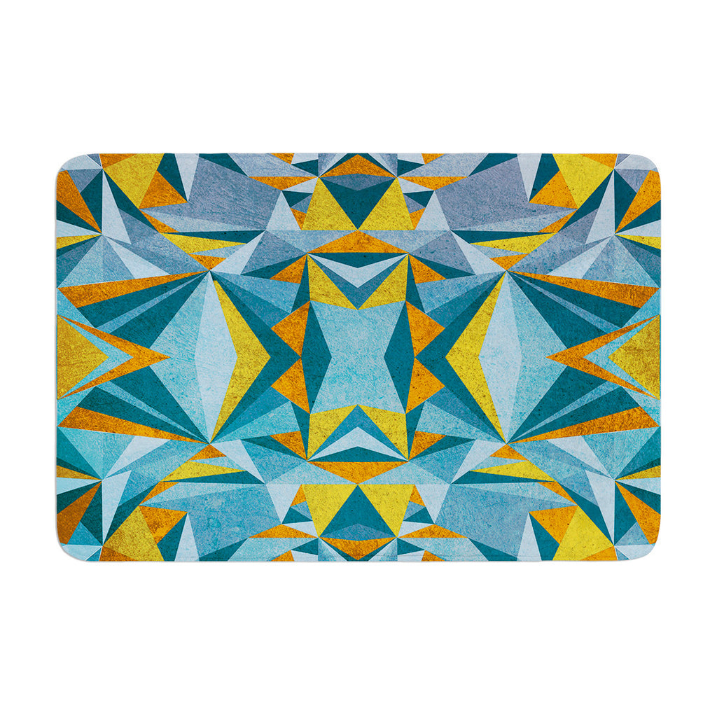 "Nika Martinez ""Abstraction Blue & Gold"" Memory Foam Bath Mat - KESS InHouse"