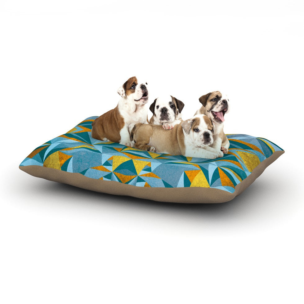 "Nika Martinez ""Abstraction Blue & Gold"" Dog Bed - KESS InHouse  - 1"