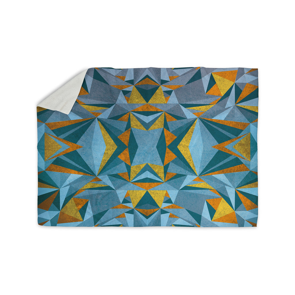 "Nika Martinez ""Abstraction Blue & Gold"" Sherpa Blanket - KESS InHouse  - 1"