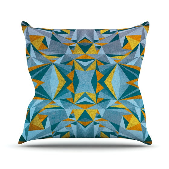 "Nika Martinez ""Abstraction Blue & Gold"" Outdoor Throw Pillow - KESS InHouse  - 1"