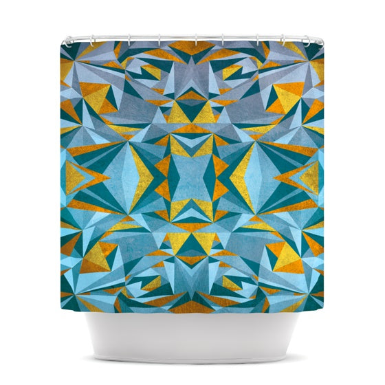 "Nika Martinez ""Abstraction Blue & Gold"" Shower Curtain - KESS InHouse"