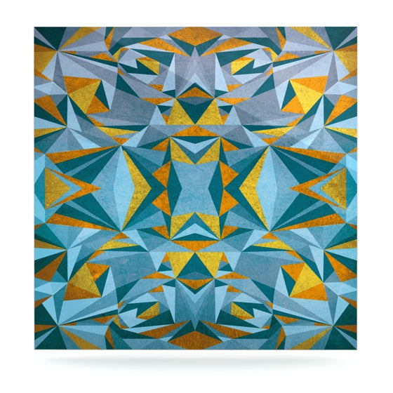 "Nika Martinez ""Abstraction Blue & Gold"" Luxe Square Panel - KESS InHouse  - 1"
