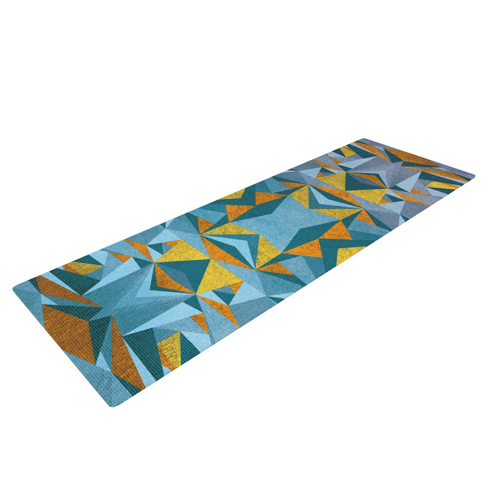"Nika Martinez ""Abstraction Blue & Gold"" Yoga Mat - KESS InHouse  - 1"