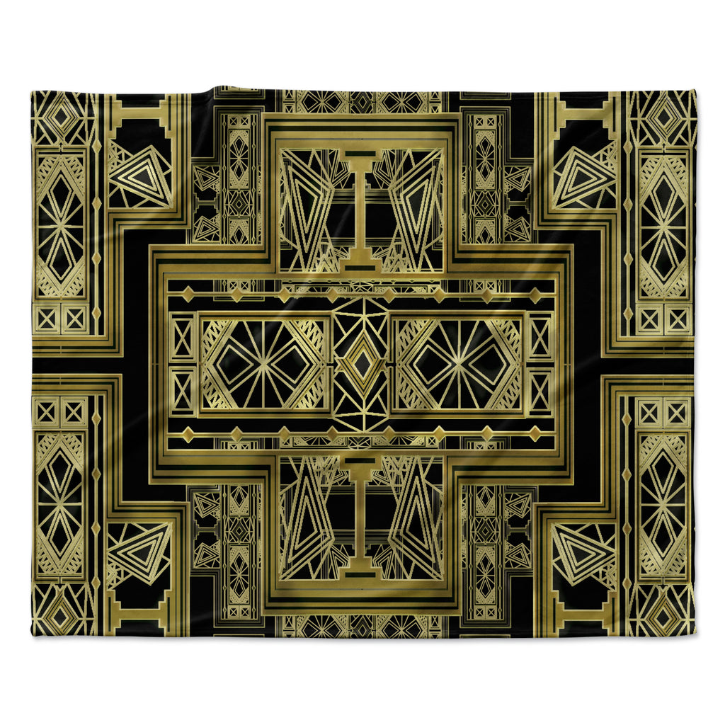 "Nika Martinez ""Golden Art Deco"" Fleece Throw Blanket"