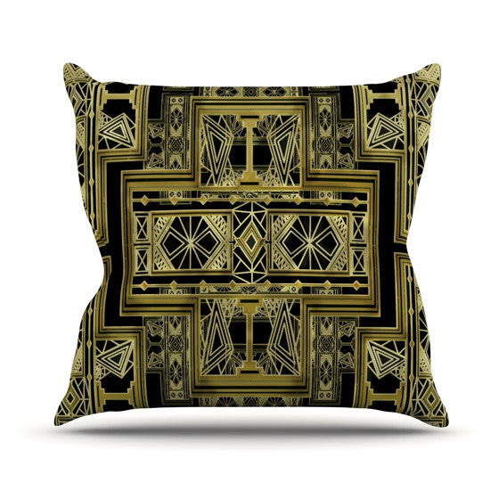 "Nika Martinez ""Golden Art Deco"" Outdoor Throw Pillow - KESS InHouse  - 1"