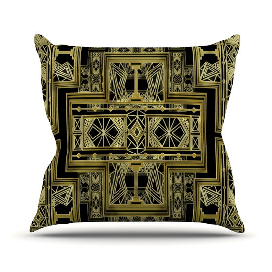 "Nika Martinez ""Golden Art Deco"" Throw Pillow - KESS InHouse  - 1"