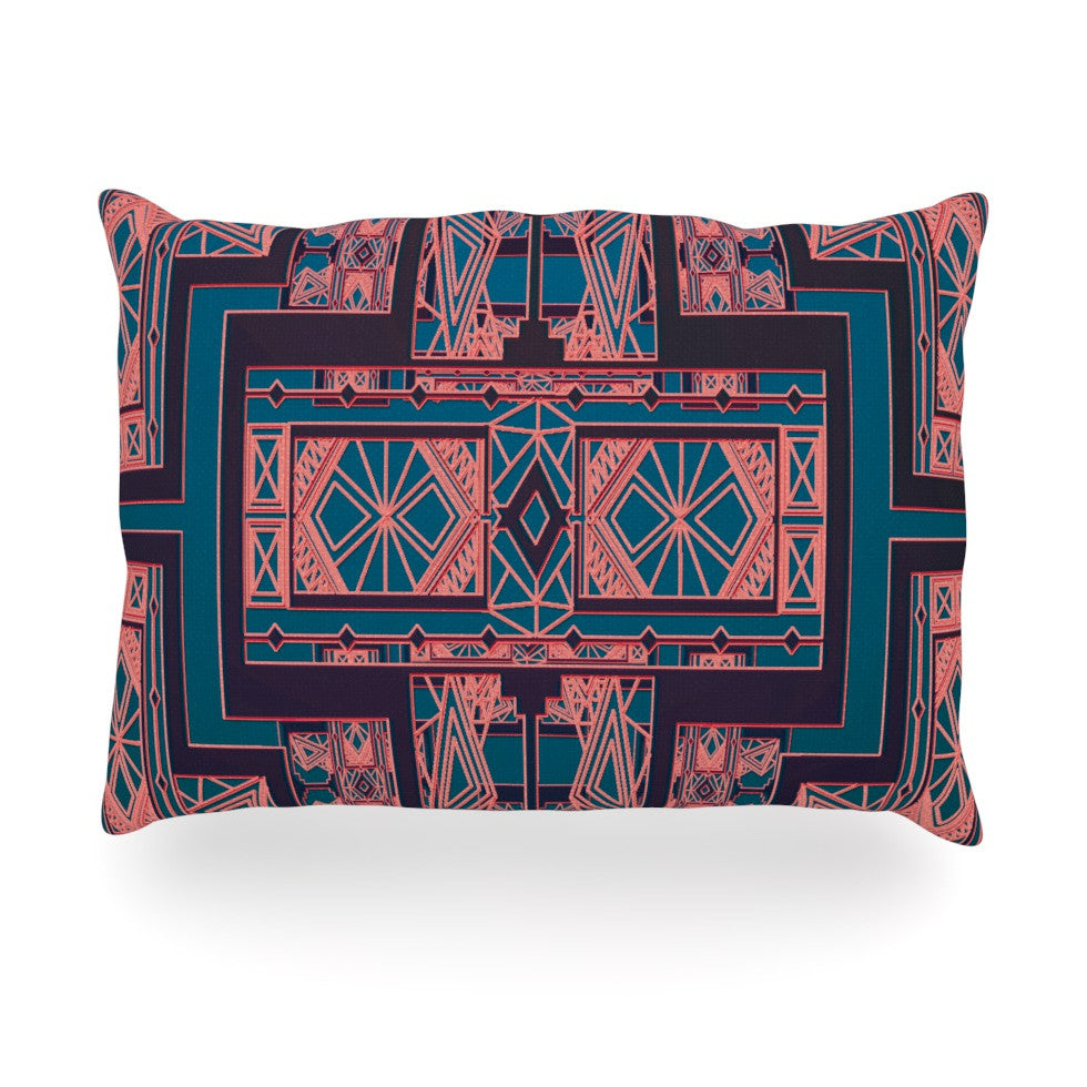 "Nika Martinez ""Golden Art Deco Blue & Coral"" Oblong Pillow - KESS InHouse"