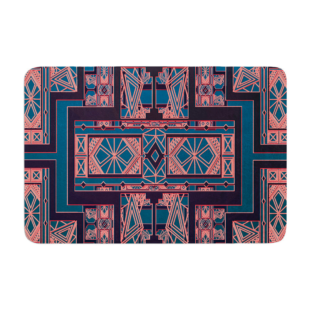 "Nika Martinez ""Golden Art Deco Blue & Coral"" Memory Foam Bath Mat - KESS InHouse"