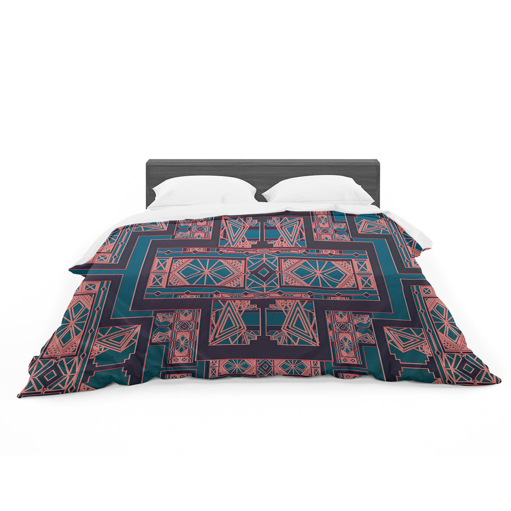 "Nika Martinez ""Golden Art Deco Blue And Coral"" Featherweight Duvet - Outlet Item"