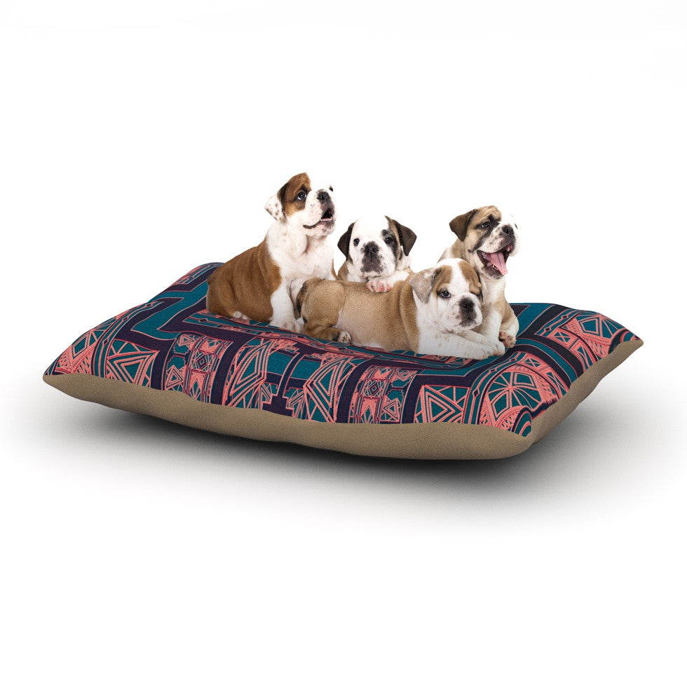"Nika Martinez ""Golden Art Deco Blue & Coral"" Dog Bed - KESS InHouse  - 1"