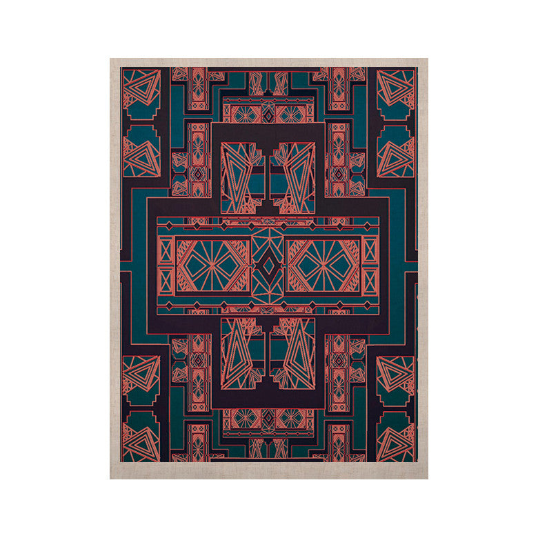 "Nika Martinez ""Golden Art Deco Blue & Coral"" KESS Naturals Canvas (Frame not Included) - KESS InHouse  - 1"