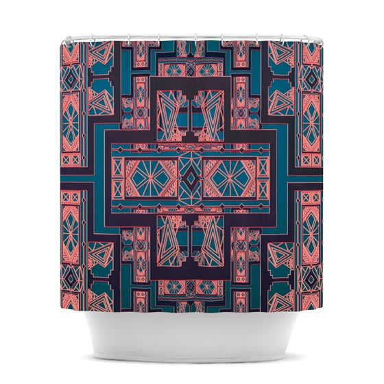 "Nika Martinez ""Golden Art Deco Blue & Coral"" Shower Curtain - KESS InHouse"