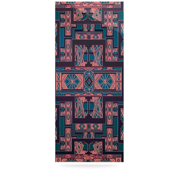 "Nika Martinez ""Golden Art Deco Blue & Coral"" Luxe Rectangle Panel - KESS InHouse  - 1"