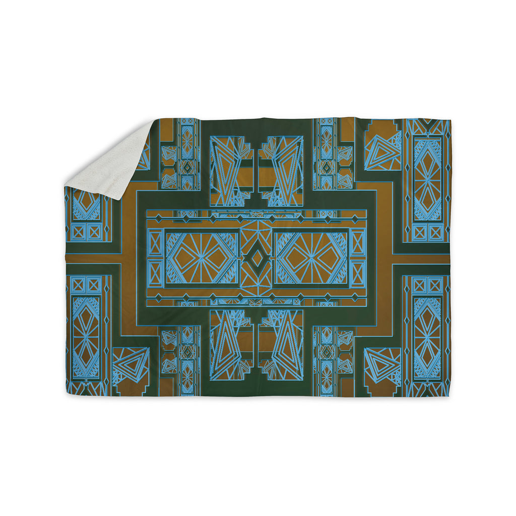 "Nika Martinez ""Golden Art Deco Green & Blue"" Sherpa Blanket - KESS InHouse  - 1"