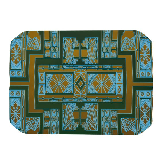 "Nika Martinez ""Golden Art Deco Green & Blue"" Place Mat - KESS InHouse"