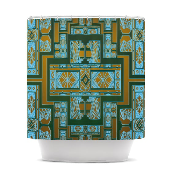 "Nika Martinez ""Golden Art Deco Green & Blue"" Shower Curtain - KESS InHouse"