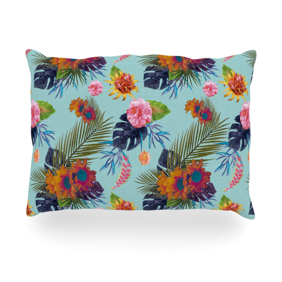"Nika Martinez ""Tropical Floral"" Blue Flowers Oblong Pillow - KESS InHouse"