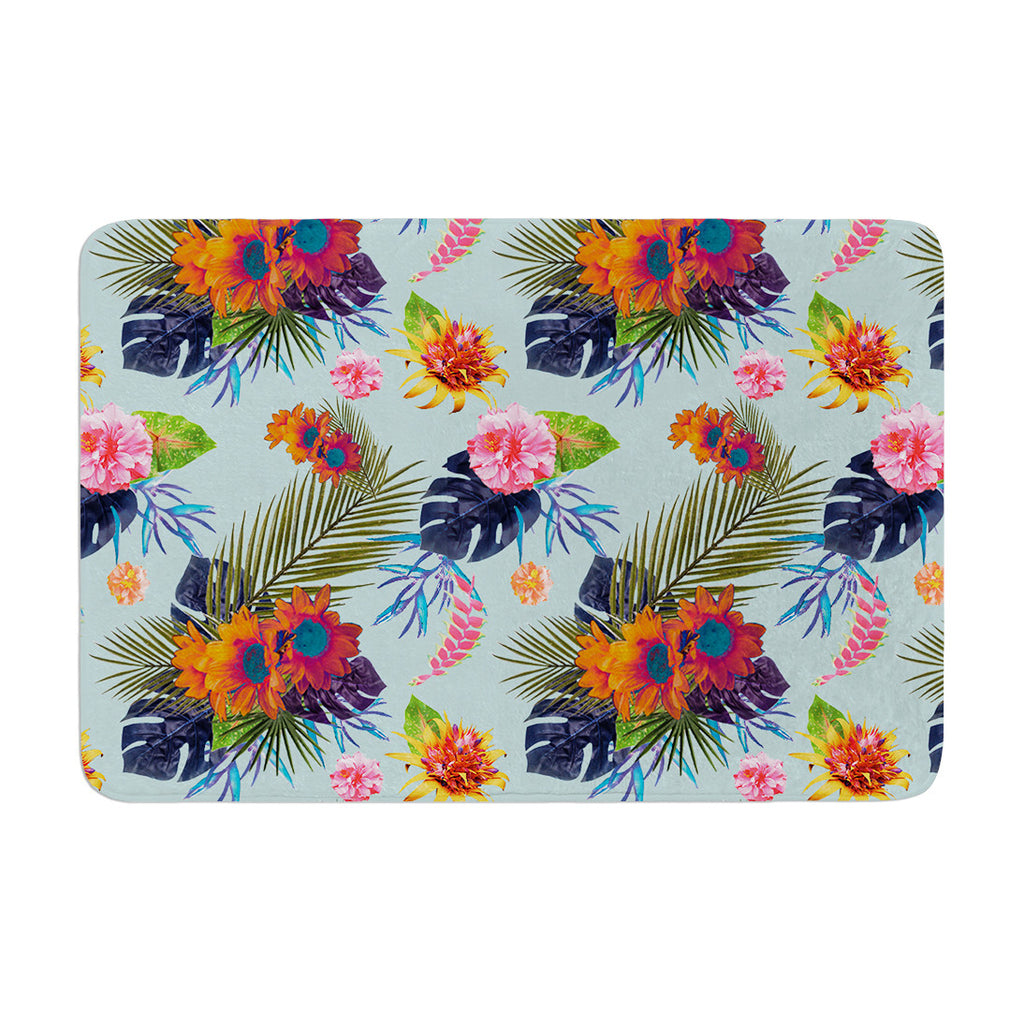 "Nika Martinez ""Tropical Floral"" Blue Flowers Memory Foam Bath Mat - KESS InHouse"