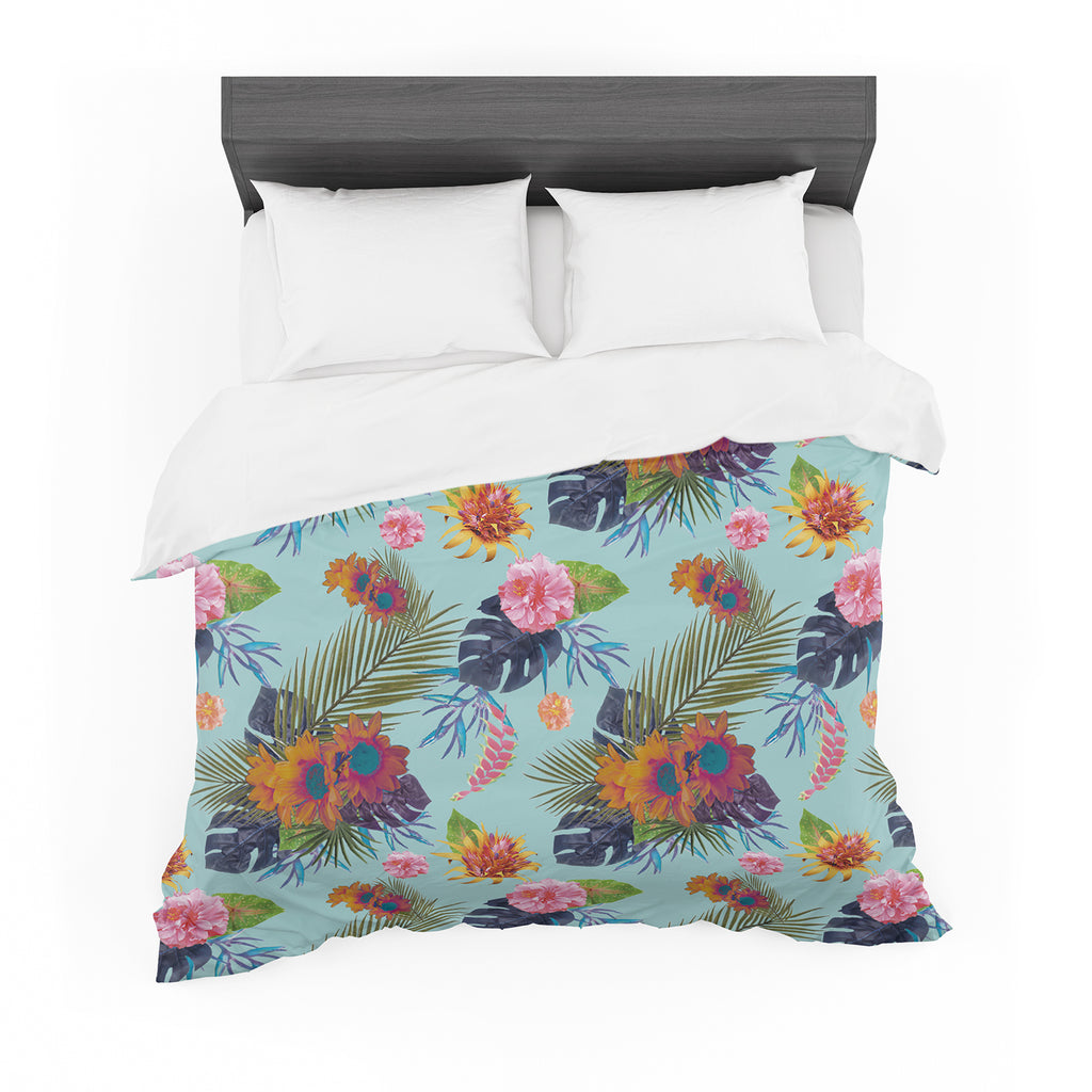 "Nika Martinez ""Tropical Floral"" Blue Flowers Cotton Duvet"