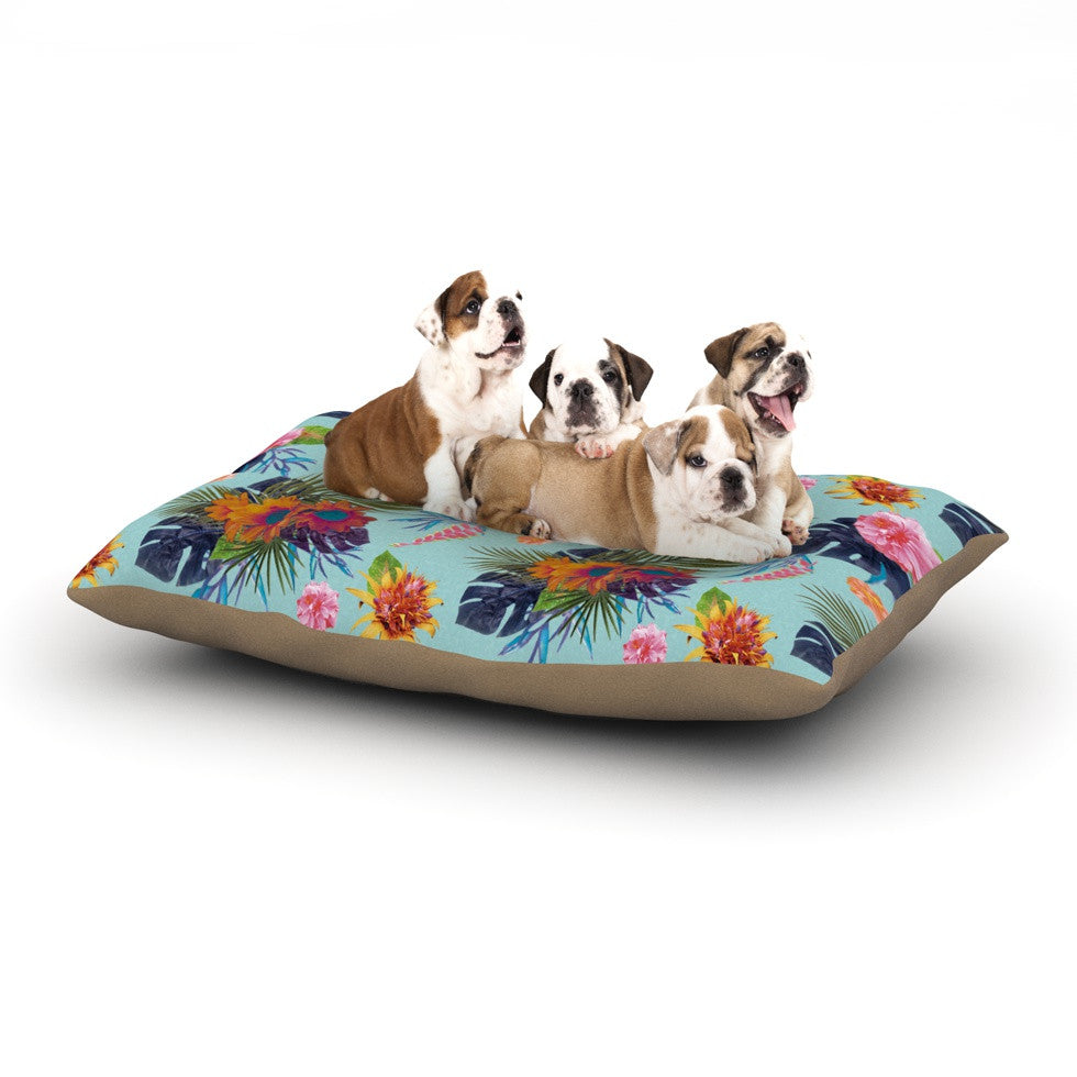 "Nika Martinez ""Tropical Floral"" Blue Flowers Dog Bed - KESS InHouse  - 1"