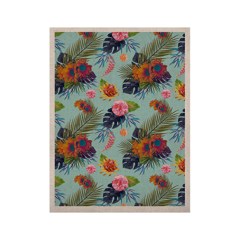 "Nika Martinez ""Tropical Floral"" Blue Flowers KESS Naturals Canvas (Frame not Included) - KESS InHouse  - 1"