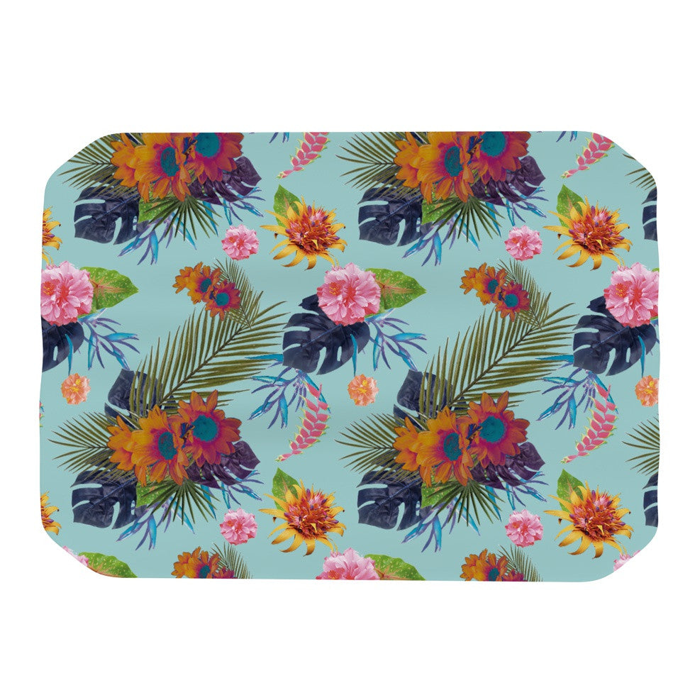 "Nika Martinez ""Tropical Floral"" Blue Flowers Place Mat - KESS InHouse"