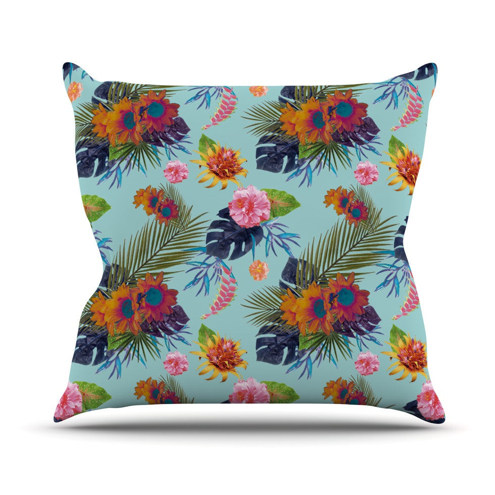 "Nika Martinez ""Tropical Floral"" Blue Flowers Outdoor Throw Pillow - KESS InHouse  - 1"
