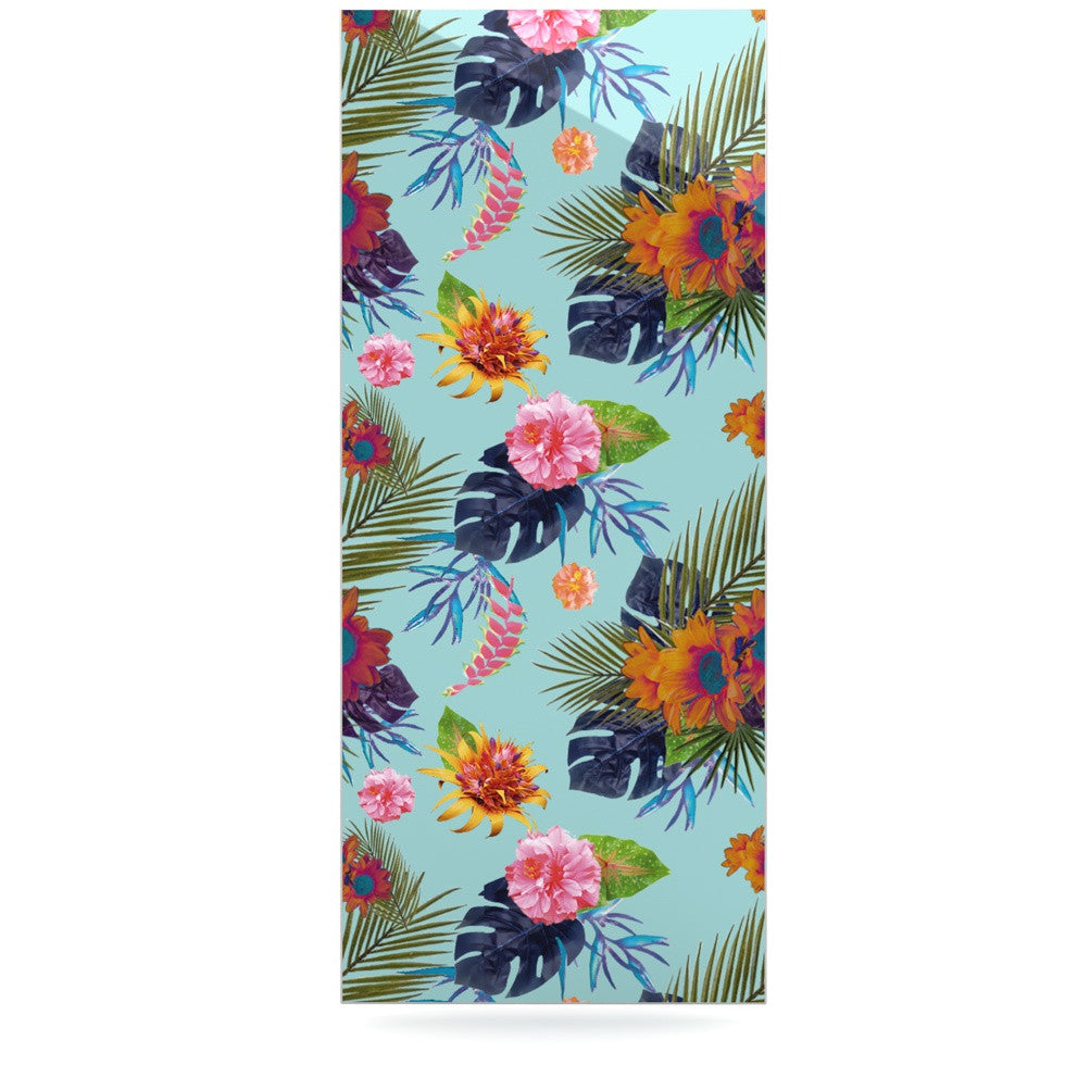 "Nika Martinez ""Tropical Floral"" Blue Flowers Luxe Rectangle Panel - KESS InHouse  - 1"