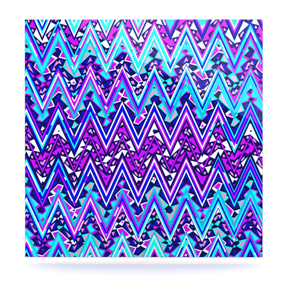"Nika Martinez ""Blue Electric Chevron"" Luxe Square Panel - KESS InHouse  - 1"
