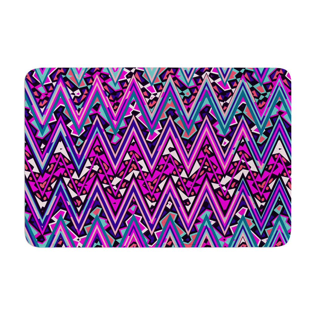 "Nika Martinez ""Pink Electric Chevron"" Memory Foam Bath Mat - KESS InHouse"