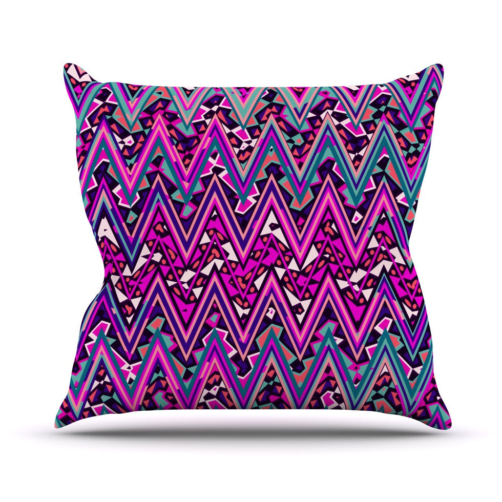 "Nika Martinez ""Pink Electric Chevron"" Throw Pillow - KESS InHouse  - 1"