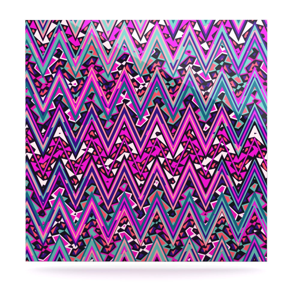 "Nika Martinez ""Pink Electric Chevron"" Luxe Square Panel - KESS InHouse  - 1"
