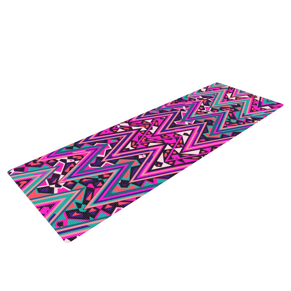 "Nika Martinez ""Pink Electric Chevron"" Yoga Mat - KESS InHouse  - 1"