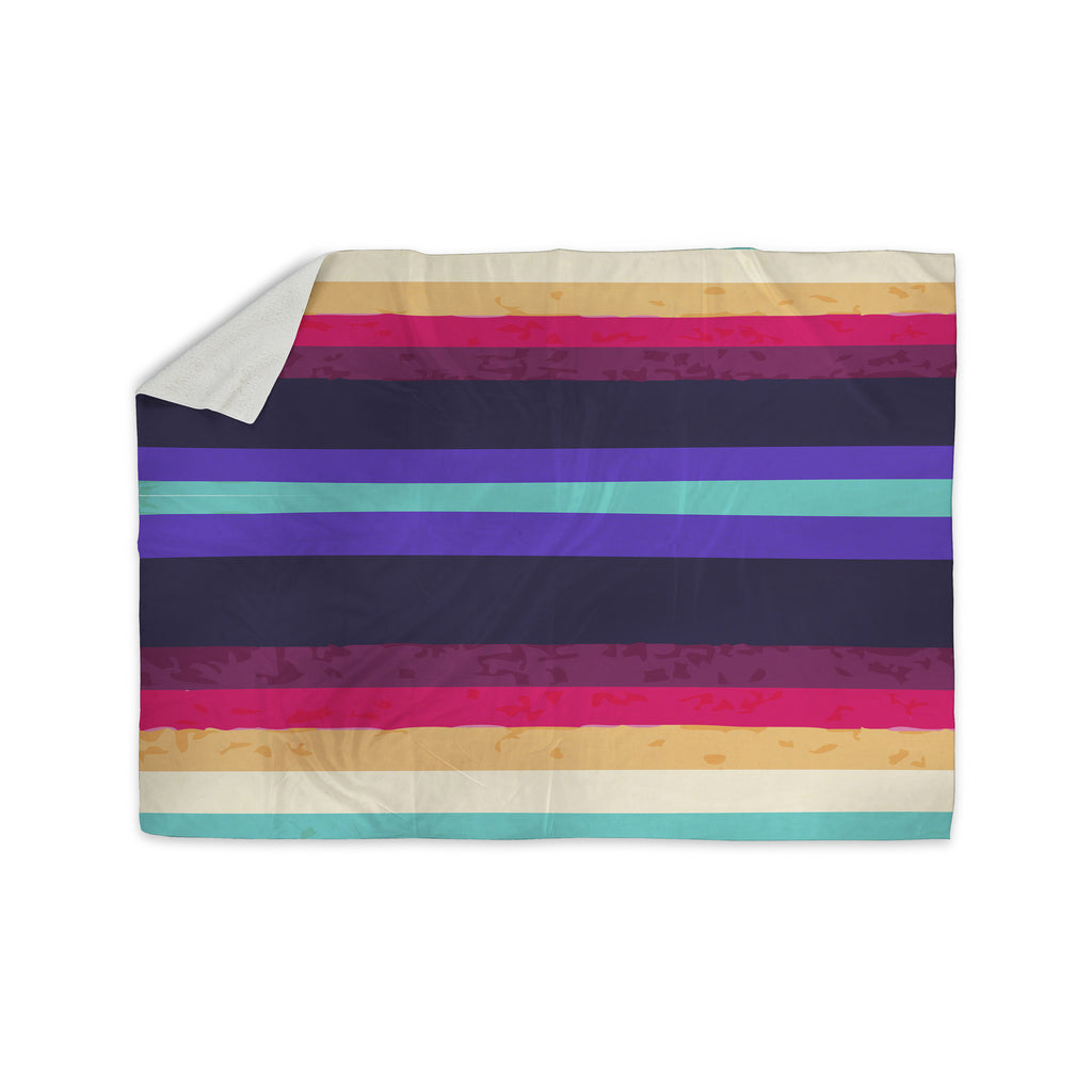 "Nika Martinez ""Surf Stripes"" Sherpa Blanket - KESS InHouse  - 1"