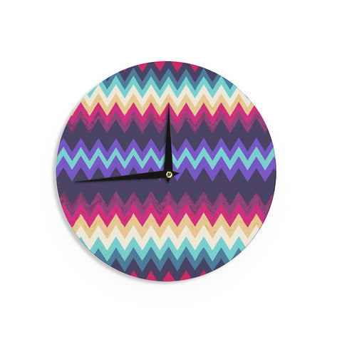 "Nika Martinez ""Surf Chevron"" Wall Clock - KESS InHouse"
