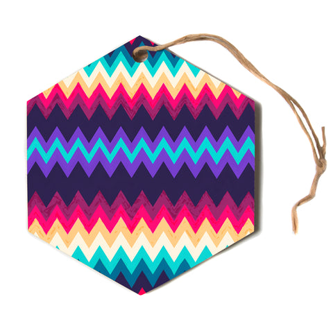"Nika Martinez ""Surf Chevron""  Hexagon Holiday Ornament"