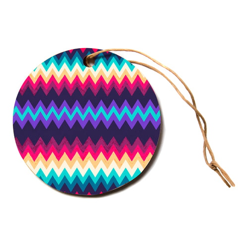 "Nika Martinez ""Surf Chevron""  Circle Holiday Ornament"